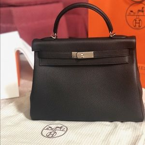 2018 Hermès Kelly Bag Retourne Togo Black Leather